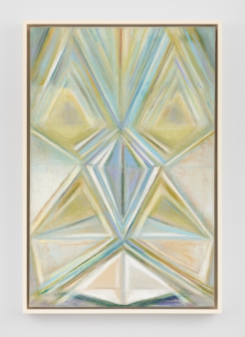 a blue/green rectangular painting with triangular shapes emanating from its' center