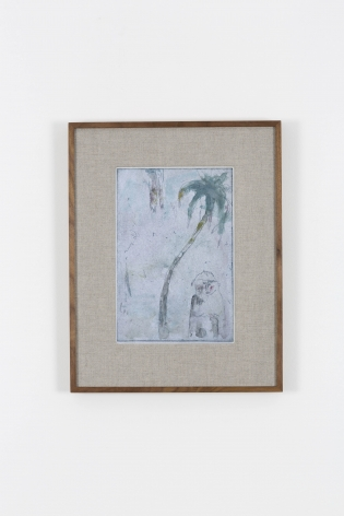 etching of a palm tree with a misty blue background