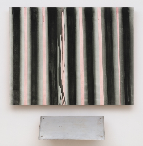 two part artwork upper one is a large black square with pink vertical lines lower is a metal plate