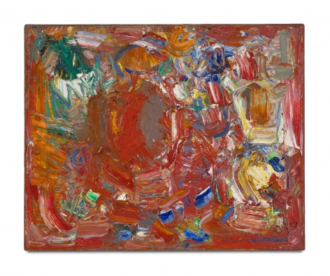 red gestural abstract painting