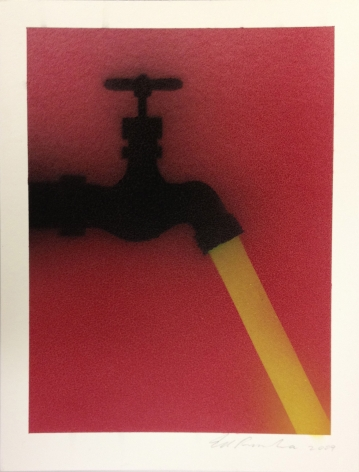 faucet in silouhette against a red background with a yellow stream