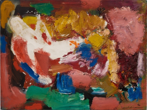 a mostly red gestural abstract painting with a swirling motif of multiple colors emanating from its' center