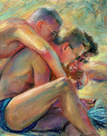 three men sitting on the beach embracing one another