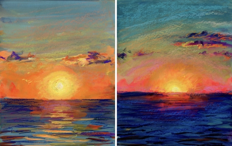 2 drawings of a sunset