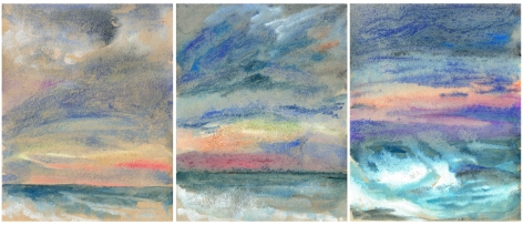 3 drawings of a moonrise over the ocean