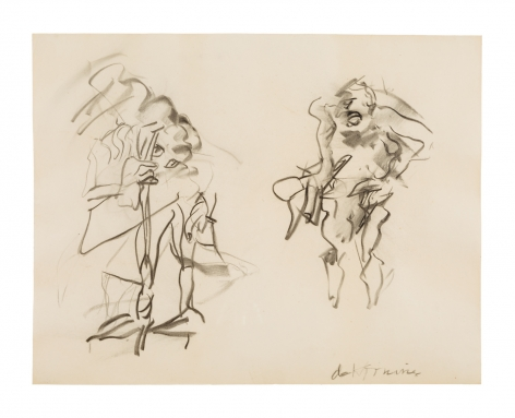 an abstract gestural drawing of two figures