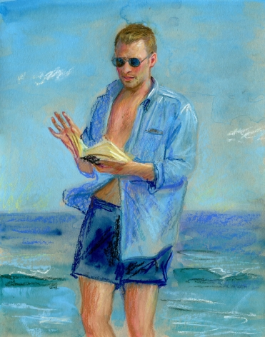 a drawing of a man reading on the beach