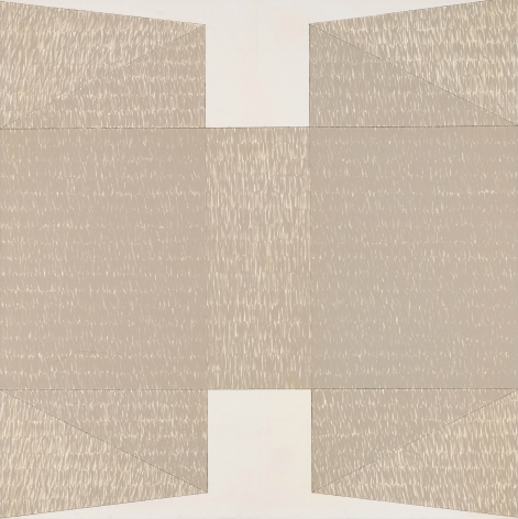 large H shaped painting in a light brown