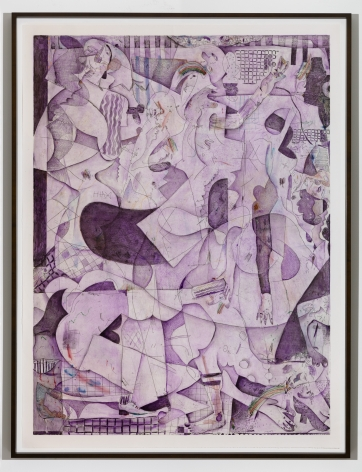 purple print of multiple figures