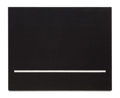 black rectangular painting with a thin white strip at the bottom