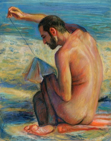 a drawing of a man sewing on the beach