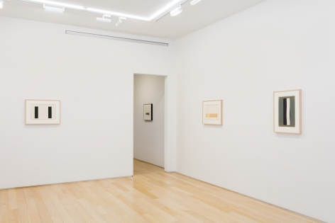 installation view with multiple abstract collages