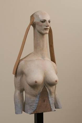Sphinx Talking with Forest, 2008, Painted camphor wood, marble and leather, 41.54 x 20.47 x 12.6 inches (105.5 x 52 x 32 cm), Private Collection