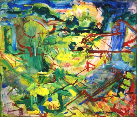 green and blue gestural abstraction