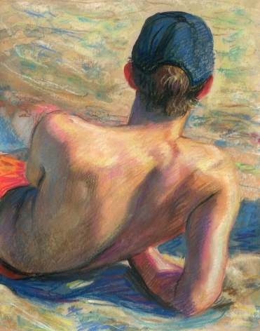 a drawing of a man reclining on a beach
