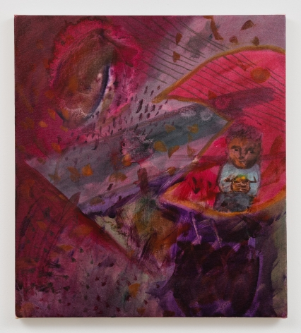Red painting of a child eating a burger