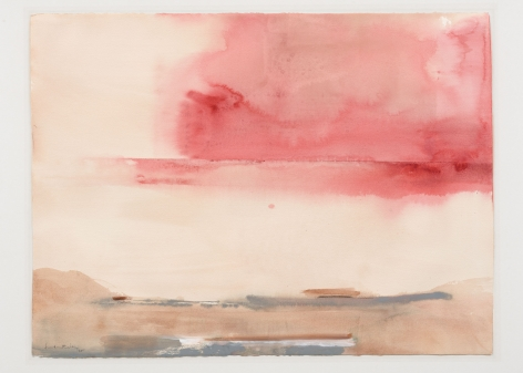 pink and tan atmospheric painting on paper
