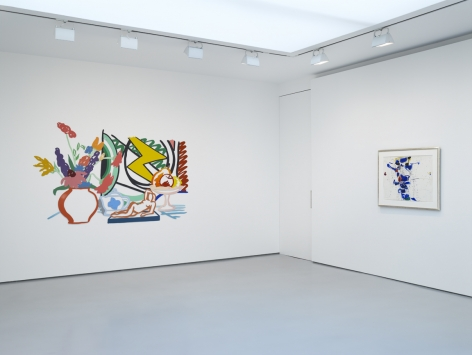 installation view of two paintings in the corner of an all white gallery