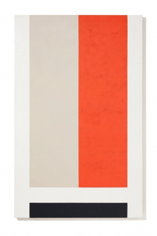 geometric abstract painting with a tan and orange rectangle in the center and a black rectangle at the bottom