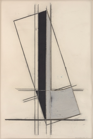 Untitled, 1977 Acrylic, balsa wood and charcoal on paper