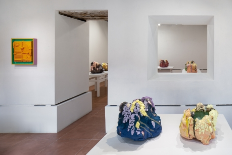 Installation view of ceramic sculptures by Brian Rochefort