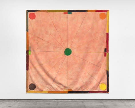 large scale painting with sewn elements and circles