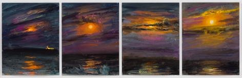 4 drawings of a moonrise over the ocean