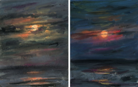 two drawings of a moonrise