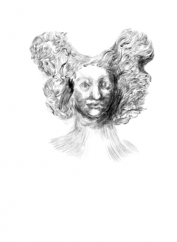 drawing of a woman with very large hair