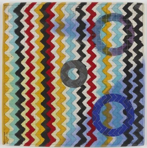 Dunrite,1990 Acrylic and thread on canvas