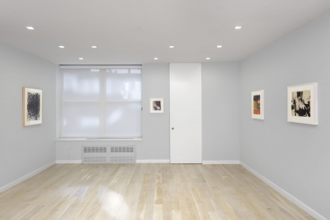 installation view of abstract paintings and drawings