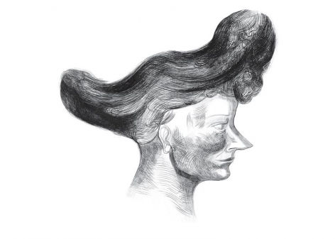 drawing of a woman with large hair and a pointed nose