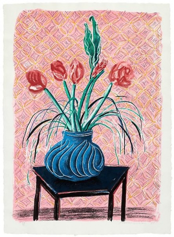 David HockneyAmaryllis in a Vase, 1984Color lithograph on handmade paper46 x 32 1/2 inches (116.8 x 82.6 cm)