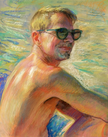 a drawing of a man on the beach