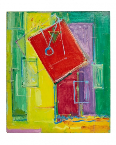 geometric abstract painting in green yellow and red