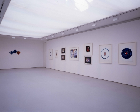 installation view with about 10 framed drawings in a large gallery