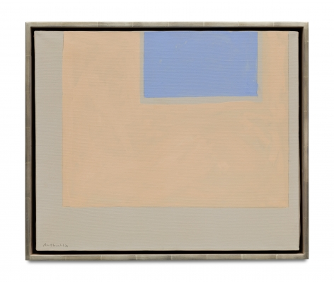 beige and blue rectangular geometric abstract painting