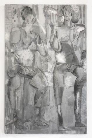 large rectangular painting with who silver figures