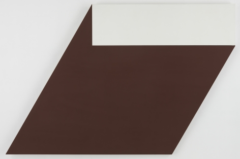 shaped canvas that is mostly brown with a white rectangle at the top