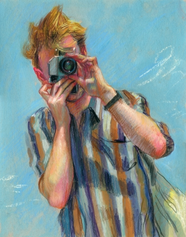 drawing of a man taking a picture