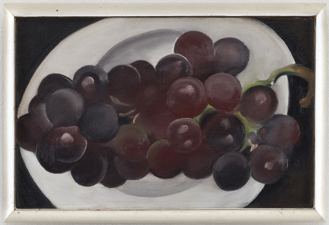 painting of red grapes on a white plate