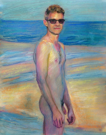 a man in sunglasses nude on the beach