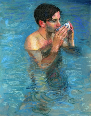a drawing of a Man in The Pool in The Rain Drinking Tea