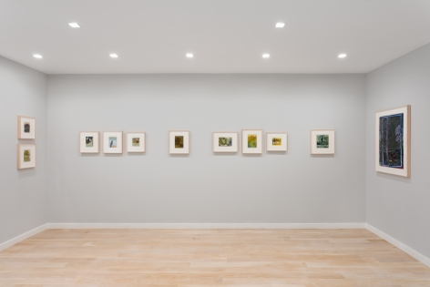 Installation view of colored landscape drawings by Tom Fairs