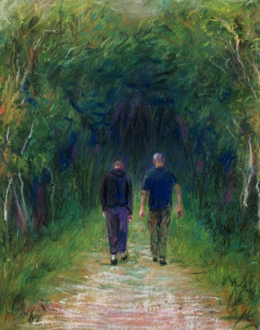 a drawing of two men walking on a path