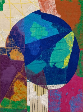 abstract painting in multiple colors on burlap