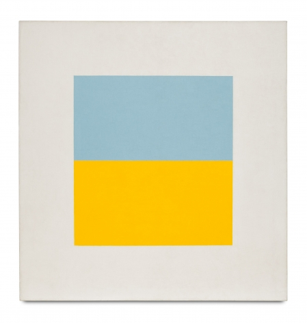 white square painting with a blue and yellow rectangle in the middle