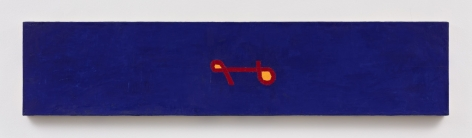 large horizontal blue painting with a caligrphic mark in its' center