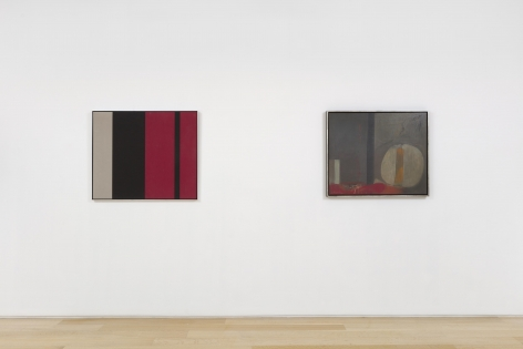 installation view of various framed artworks