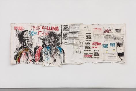 Zviziviso/Notice Board,2018 Mixed media (Kucheka cheka) on paper mounted on canvas, with paper collage